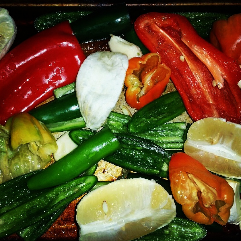 Marinated pepper mix, ready to roast.  Key ingredients for our Key Lime Surprise.